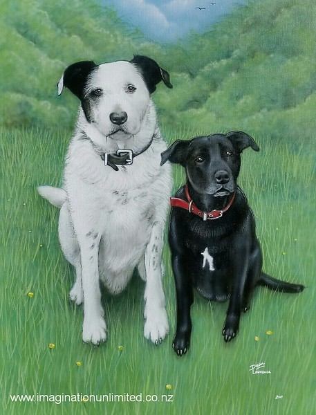 A portrait of a guys two dogs by Dean Lawrence