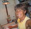 Olomana Gardens <br /> Happy carving in my Sculpture Studio<br /> 2007<br /> Waimanalo, HI