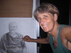 MARGARET<br /> charcoal pencil drawing 2009<br /> Olomana Gardens Studio<br /> Waimanalo, HI