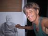 MARGARET<br /> charcoal pencil drawing 2009<br /> Olomana Gardens Studio<br /> Waimanalo, HI