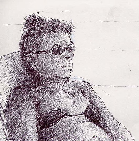 "Portrait: ""Kim's Day Off""  pen on paper (detail)"