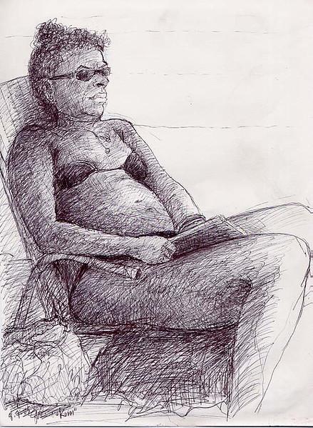 """Portrait: """"Kim's Day Off"""" pen on paper 8"""" x 10"""""""