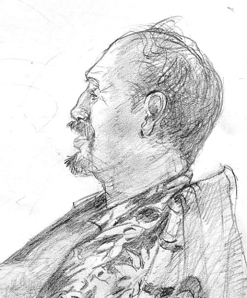 GLENN TALKS STORY<br /> Life Drawing  8.5  x 11 <br />  pencil on paper<br /> 2006