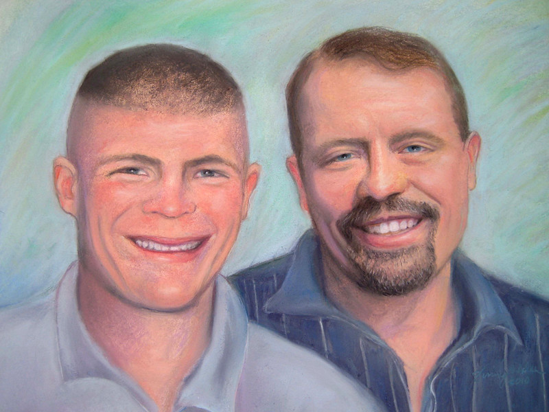 FATHER and MARINE SON<br /> Image    12 x 16<br /> Frame    16 x 20<br /> Soft Pastel on Canson Paper<br /> Commission 2010<br /> Honolulu, HI<br /> $450.