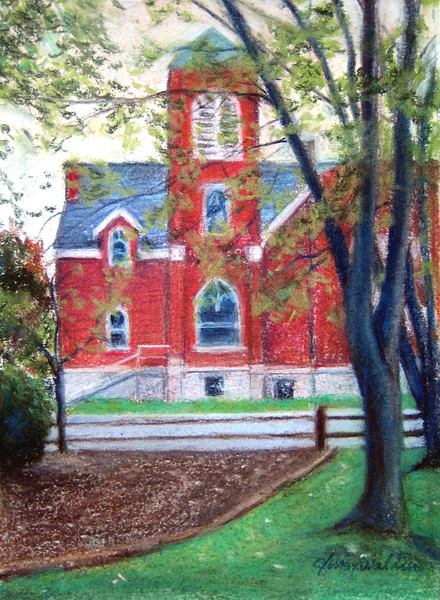PORTRAIT of a CHURCH<br /> Soft Pastel on Canson White Paper<br /> Image  5 x 7 <br /> Mat     8 x 10<br /> Miniature<br /> Commission 2010<br /> Makaha. HI<br /> $235.