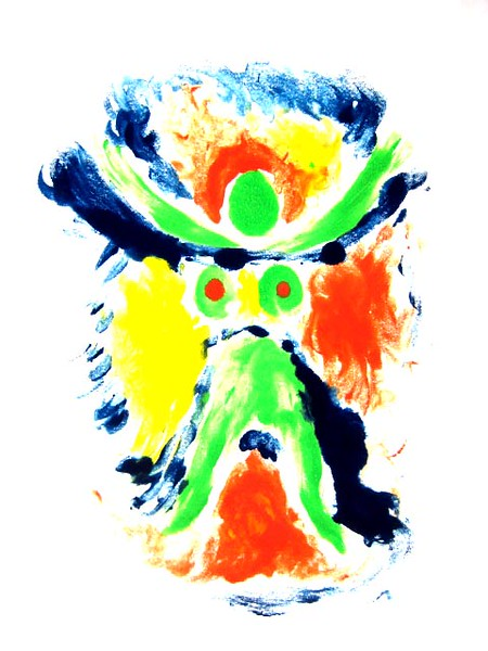THE GREEN QUEEN<br /> monoprint with tempera paint<br /> 30 x 20<br /> 1995