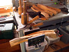 Here is a closer look at the cedar in the horizontal vice and the chisels and hickory mallet that i use.