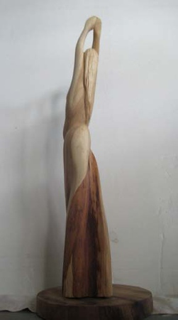 MOON PHASES No.2 LANI KAI FULL MOON<br /> H19 X W6.5<br /> NM Saltillo Cedar, Koa Base.<br /> 2012<br /> notice how color of bark and sapwood enhance<br /> the skirt and body.<br /> Commission your favorite Phase of the Moon!<br /> 1200.