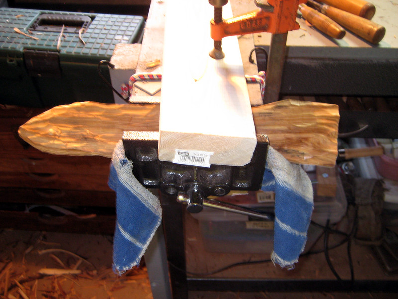 When the wood starts to slip in the vice I use a towel and a brace on top to hold the wood firmly in place while I carve.