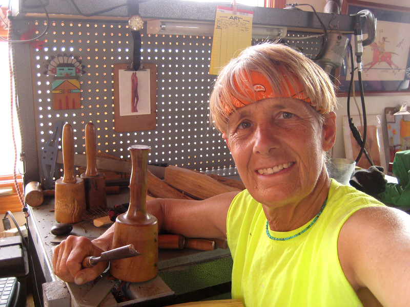 Let's carve WOOD!<br /> First..set up your wood carving tools with mallets, various chisel and knives, and a horizontal vice, C-Clamps and Bar Clamps. Then find some quality wood to carve. I prefer woods that do not attract bugs like cedars from NM and Koa and Kamani wood from Hawaii. Then my Collectors know my valuable artwork will endure many years.