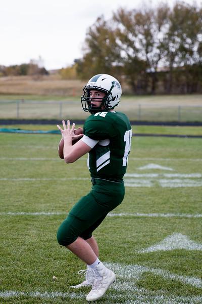 Matthew Gaston | The Sheridan Press<br>Luke Stutzman, Tongue River High School's quarterback 10-01-2018 Game of the Week.