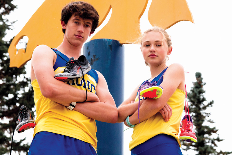 Matthew Gaston | The Sheridan Press<br>Sheridan High School cross country runners Alex Garber, left and Katie Turpin Thursday, Oct. 11, 2018.