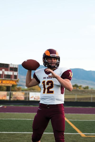 Matthew Gaston | The Sheridan Press<br>Big Horn High School's starting quarterback Quinn McCafferty Monday, Oct. 1, 2018.
