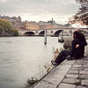 October 14, 2010<br /> <br /> Sitting by the Seine in Paris, pretty much just to prove that we've actually been there.<br /> <br /> I've been to Paris three times, but this was the first I've managed to get to the City of Love with my Love. Funny, that.<br /> <br /> This was a great day.<br /> <br /> (The tunnel under the bridge just down the way is completely overrun by gutter punks, their scrappy dogs and tons of dog poop. Even more so than usual.)