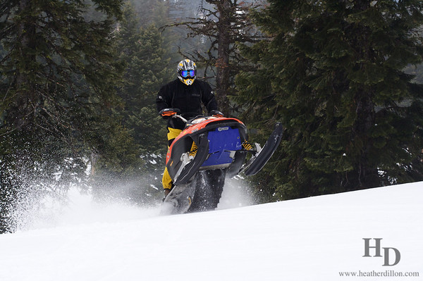 Snowmobile tricks in the Blue Mountains, Oregon.
