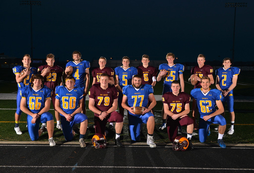 Justin Sheely | The Sheridan Press	<br /> Sheridan County's 2017 All-State players from Sheridan High School and Big Horn High School. Back row, from left: Kyle Custis, Kade Eisele, Aaron Woodward, Quin McCafferty, Garrett Coon, Will Pelissier, Parker Christensen, Kade VanDyken and Aaron Sessions. Front row, from left: Max Myers, Connor Jorgenson, Seth Mullinax, Blayne Baker, Nolan Rader and Quinton Brooks.