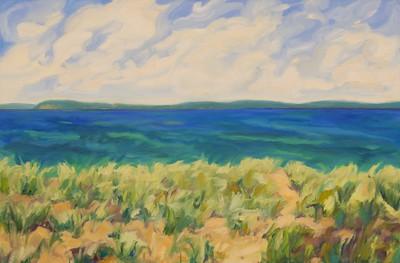 Lynn Uhlmann, Lakeshore Dunes, 24x48 oil on canvas