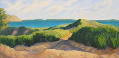 Lynn Uhlmann, Good Harbor Dune Path, oil on canvas 24x36