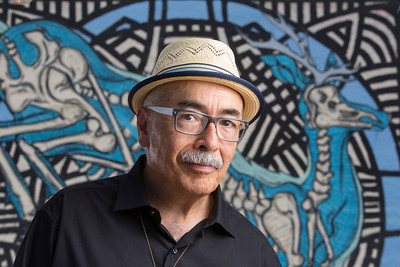 National Poet Laureate Juan Felipe Herrera photographed in downtown Fresno.