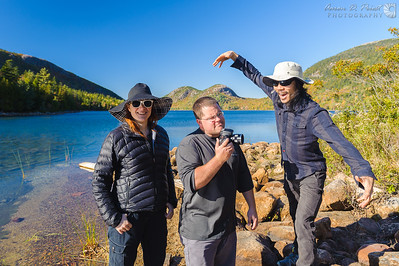 Violet Angell, Dustin Farrell of www.crewwestinc.com, and Peter Chang of www.gg3d.com at Jordan Pond in Acadia National Park
