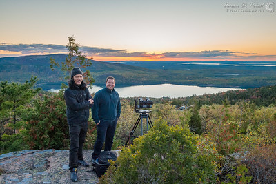 Peter Chang of www.gg3d.com and Dustin Farrell of www.crewwestinc.com shooting a 3D sunset timelapse for IMAX on Cadillac Mountain in Acadia National Park