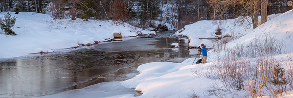 Chris Lawrence of Maine Photography shooting a winter sunset at Duck Brook in Acadia National Park, Maine, March 17, 2018, 17:07. This panorama is 9ft x 3ft.
