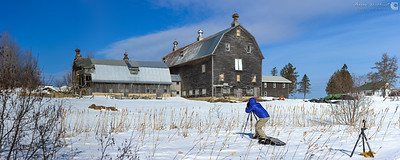 Handheld panorama of Chris Lawrence capturing a traditional New England winter scene.