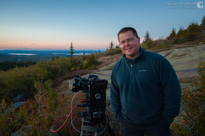 Dustin Farrell of www.crewwestinc.com shooting a 3D sunset timelapse for IMAX on Cadillac Mountain in Acadia National Park