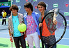 Nick Jonas, Joe Jonas, Kevin Jonas at the 2007 Arthur Ashe Kids Day at the USTA Billie Jean King National Tennis Centre in Queens, NY.  <center>New York, NY August 25, 2007 Photo by Steve Mack/S.D. Mack Pictures