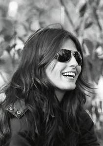 Smiling brunette babe