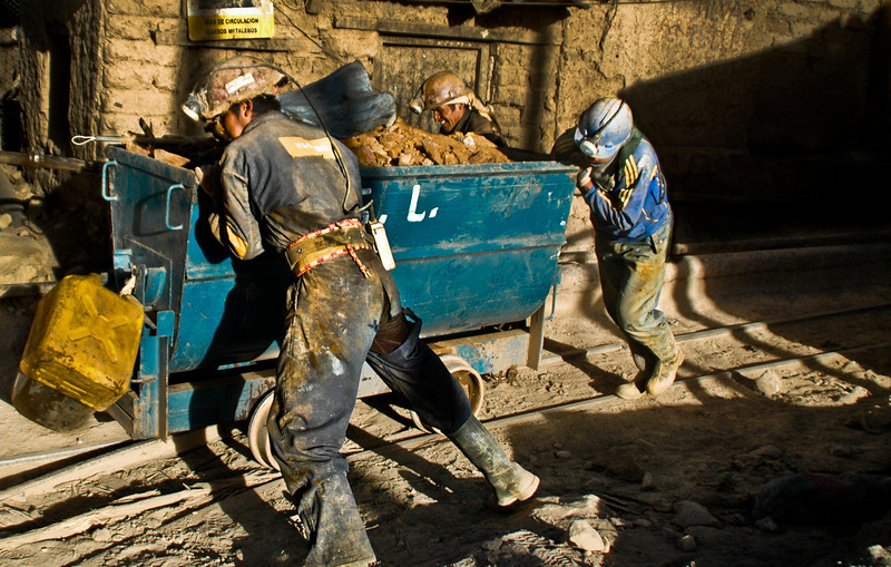 Workers at the silver mines of Cerro Rico, Bolivia, 2010.