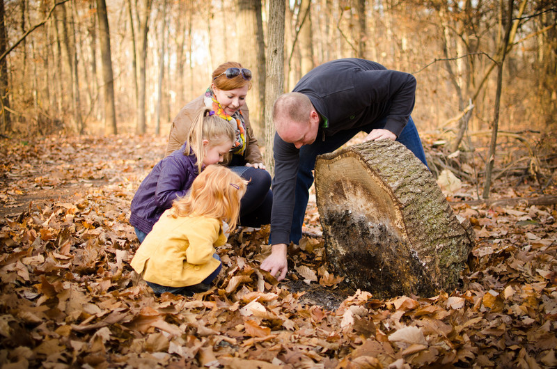 James, Esther and kids ... a walk in the woods