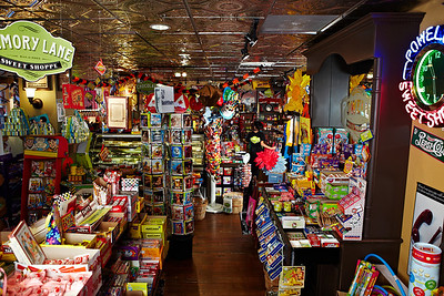 "Powell's Candy inside-magazine ""double truck"" type layout shot."