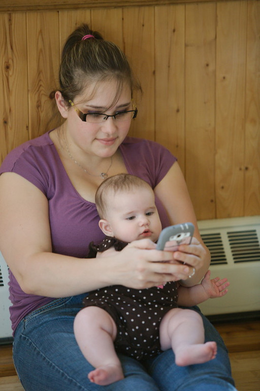 Technology starts early for this little one.