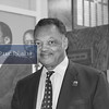 Rev. Jesse Jackson, Jr poses near tribute to Rev. Dr. Martin Luther King, Jr. just before entering his Chicago auditorium where he will begin his weekly Saturday morning Operation PUSH broadcast.