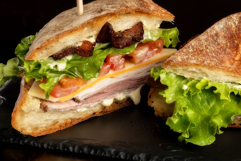 Close up of a fresh made Club sandwich with bacon and lattice
