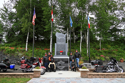 IMG#5081 July 26, 2011 A Memorial Park built by the Plourdes Harley Davidson Dealership to commemorate one of the places where four states intersect.. Left:  Renee, George, Louie, Billy Right:  Grace, Jim, Ben. Madawaska, Maine