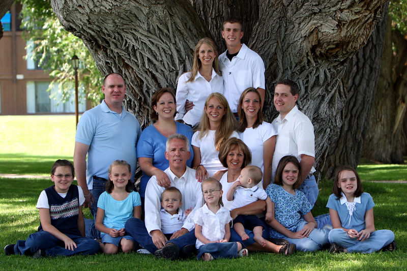 Grandma and Grandpa with the whole family (as of the summer of 2005)...