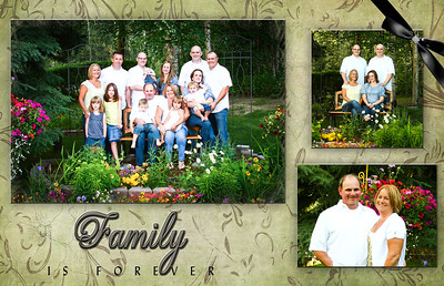 """30 x 20 Canvas This has been designed as a canvas wrap.  To give you an idea of sizes, the large family photo will be approximately 18"""" x 12"""", the photo of the kids is approx. 7""""x8"""" and the one of you and Duane is about 9""""x7""""."""