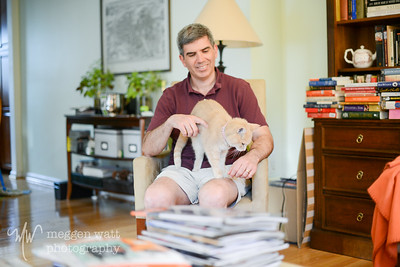 Mike West at home with their 18-y-o cat. I hauled my camera to dinner with Diana and somehow took no more photos.