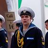 """Cadets du quatre mâts-barque """"Krusenstern"""", navire-école de la Marine russe.<br /> """"Tonnerres de Brest 2012""""<br /> Brest  (France)"""