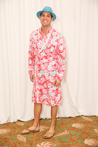 Richard Gaff (wearing a men's Lilly bathrobe)