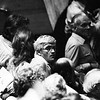 David Hockney in the audience for Brand performed at the National Theatre 1978