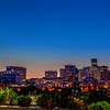 Early morning skyline of Denver Colorado with skyscrapers