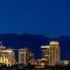 Salt Lake City skyline at night with street lights on