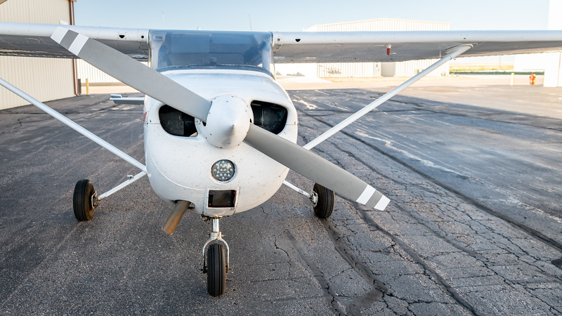 Closeup of a small airplane at a local hanger
