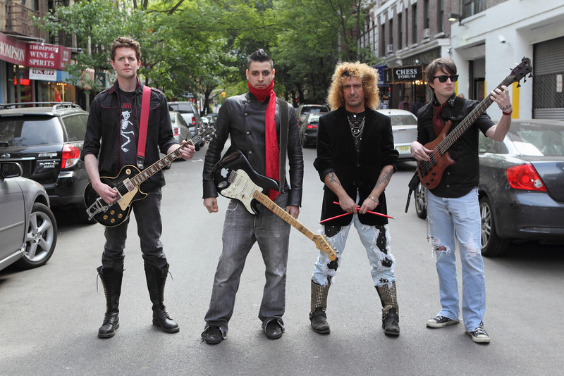 New York - May 13: Band members pose at Just Visiting Photo Session at Space 4 Shoots on Friday, May 13, 2011 in New York, NY.  (Photo by Steve Mack/S.D. Mack Pictures for Just Visiting)