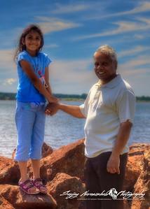 Vasantha & Grampy Narasimhalu at Victoria Park, Charlottetown, Prince Edward Island, July 30 2005