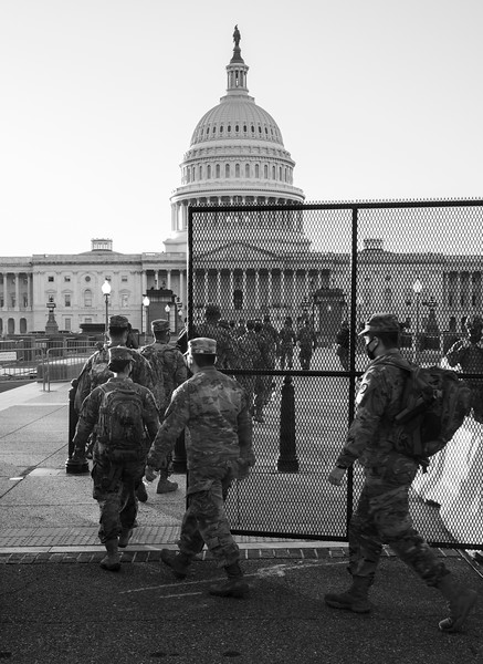 Jan 12, Washington DC - Members of the New Jersey National Guard arrive at the Capitol to provide additional security. Last week Wednesday, pro-Trump rioters stormed the building in an attempted takeover of Congress.