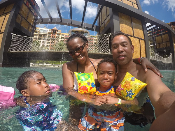 Family pic in pool.